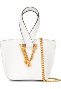Versace Bolsa Tote Virtus Pequena - Branco
