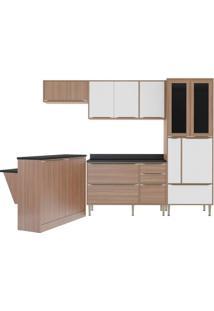 Cozinha Compacta Multimóveis Calábria 5463.680.131.680.816 Nogueira Branco Se