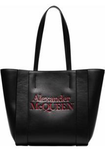 Alexander Mcqueen Bolsa Tote De Couro Com Logo Gravado - Preto