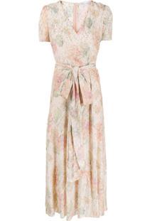 Redvalentino Vestido Longo Com Efeito Metalizado - Rosa