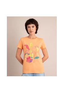 Camiseta De Algodão Tucano Manga Curta Decote Redondo Laranja