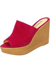 Sandália Plataforma Azaleia Slide Tira Larga Feminina - Feminino-Pink