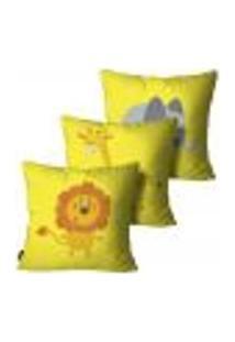 Kit Com 3 Capas Para Almofada Infantil Animais Amarelo 55X55Cm