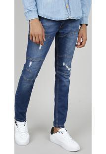 Calça Jeans Masculina Skinny Com Recortes E Rasgos Azul Médio