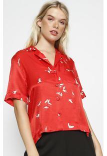 Camisa Com Bolso & Seda - Vermelha & Brancaosklen