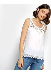 Regata Com Guipir Sofia Fashion Feminina - Feminino-Branco