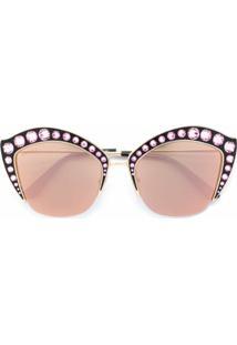 Gucci Eyewear Óculos De Sol Armação Gatinho Com Cristal Swarovski - Metálico
