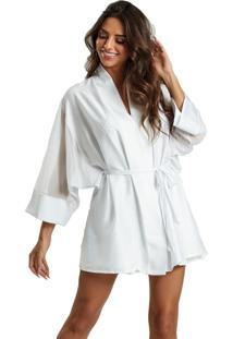 Robe Recco Charmeuse Prime E Tule Branco - Tricae