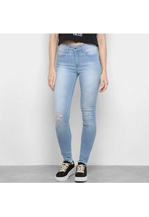 Calça Jeans Skinny Colcci Estonada Rasgos Cintura Média Feminina - Feminino-Jeans