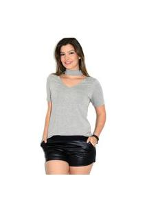 Blusa Up Side Wear Choker Cinza