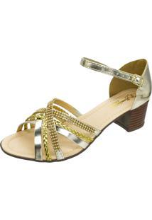 Sandália Romântica Calçados Tiras Dourado - Kanui