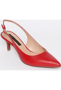Sapato Chanel Em Couro Texturizado - Vermelho - Saltjorge Bischoff