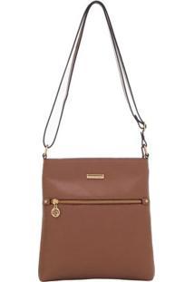 Bolsa Smart Bag Couro Transversal - Feminino-Caramelo