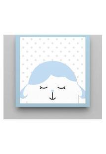 Quadro Amiguinho Carneirinho Azul Bebê 38Cm Gráo De Gente Azul