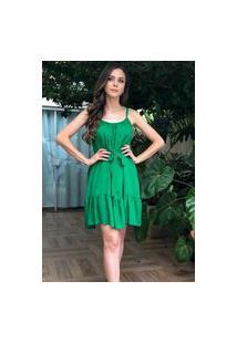 Vestido Hora De Diva Curto Alças Soltinho Verde Esmeralda