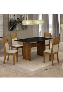 Conjunto De Mesa De Jantar Florença V Com 4 Cadeiras Havaí Linho Preto E Bege