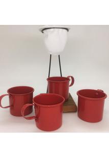 Kit De Café Egoista - Individual - 4 Canecas Vermelhas - Demolição - Feito A Mão