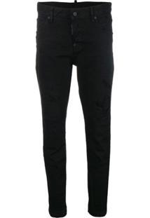 Dsquared2 Calça Jeans Skinny Destroyed - Preto
