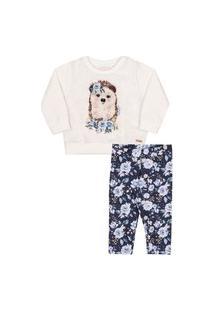Conjunto Blusão Longo Calça Flores Azul Nini&Bambini P Azul
