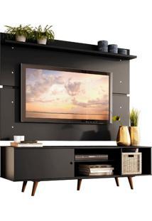 Rack Madesa Dubai E Painel Para Tv Até 65 Polegadas Com Pés - Preto/Rustic Preto