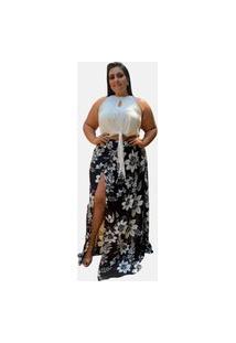 Conjunto Blusa Cropped Branco E Saia Longa Estampada Moda Saída De Praia Tnm Collection Plus Size