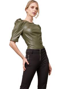 Blusa Mx Fashion Com Mangas Bufantes Bianca Verde Militar - Tricae