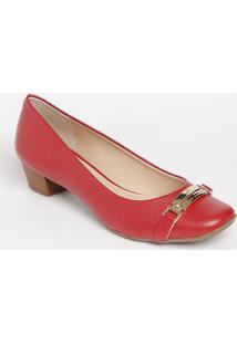 Sapato Tradicional Em Couro- Vermelha- Salto: 3Cmjorge Bischoff