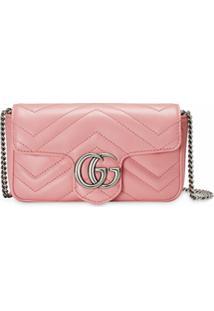 Gucci Bolsa Tiracolo Gg Marmont Super Mini - Rosa
