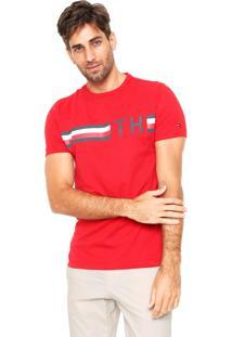 Camiseta Tommy Hilfiger Striped Vermelha