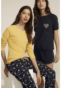Pijama Feminino Em Malha De Algodão Com Mangas Longas