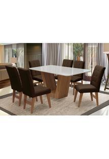Conjunto De Mesa Para Sala De Jantar Com 6 Cadeira Veneza-Dobue - Cedro / Branco Off / Chocolate Vlp