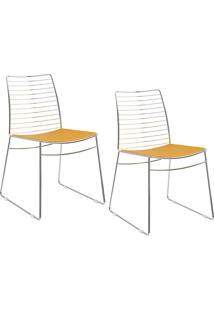 Kit Com 2 Cadeiras Nicole Cromada Couríssimo Amarelo - Carraro