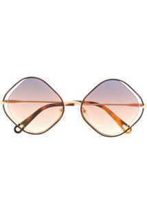 Chloé Eyewear Óculos De Sol 'Poppy' - Dourado