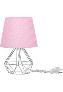 Abajur Diamante Dome Rosa/Bolinha Com Aramado Cromado