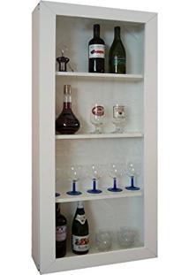 Bar Adega Para Vinhos E Bebidas Cristaleira Suspenso De Parede Para Sala Estar Ou Jantar Branco