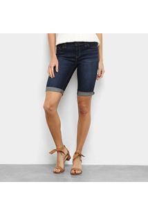 Bermuda Jeans Gap Barra Drobrada Feminina - Feminino-Azul