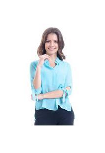 Camisa 101 Resort Wear Lisa Crepe Polo Laco Mangas 34 Azul Claro