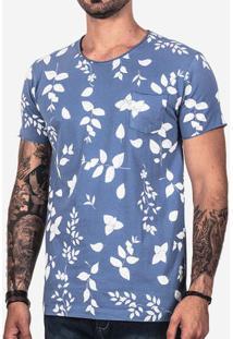 Camiseta Azul Folhas 101745