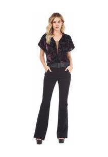 Calça Zinco Flare Cós Alto Black Jeans