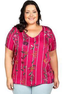 Blusa Com Estampa Floral Vermelha Cativa Mais