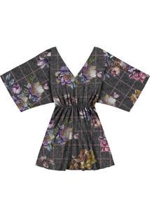 Vestido Amplo Tecido Estampado Tweed Flowers - Lez A Lez
