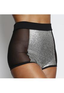 Calcinha Hot Pant Super Shine - Preta & Prateadajohn John