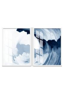 Quadro 65X90Cm Abstrato Ágata Azul Moldura Branca Sem Vidro Decorativo Interiores