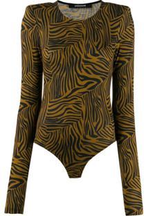 Andamane Body Com Estampa De Zebra - Marrom