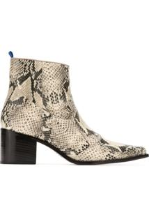 Blue Bird Shoes Bota Country Python De Couro - Estampado