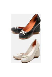 Kit 2 Pares Sapatilhas Estilo Shoes Casual Preto Escamada