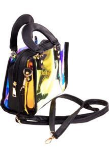 Bolsa Paul Ryan Neon Preto E Translãºcido Colorido - Preto - Feminino - Dafiti