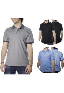 Kit Camisa Polo 3Pçs Laos Basic Cinza/Preta/Azul