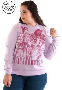 Blusão Moletom Konciny Plus Size Rosa