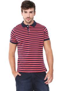 Camisa Polo Yachtsman Reta Listrada Azul-Marinho/Vermelho